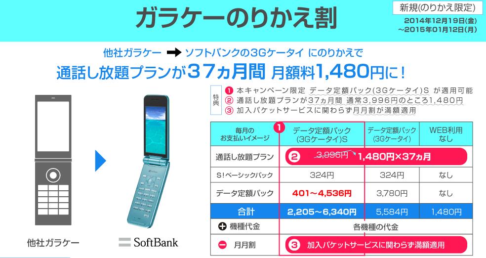 Softbankがガラケーのりかえ割を開始 通話し放題で1480円!更に月月割適用で2円ガラケーも!?