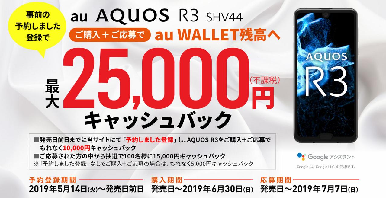 auのAQUOS R3 SHV44は発売日からいきなり最大45,000円の値引き・キャッシュバック!?高額還元キャンペーンを用意