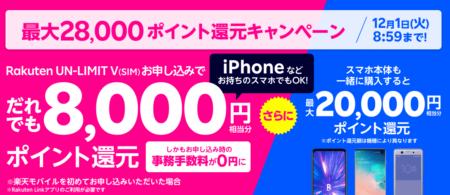 楽天モバイル新キャンペーン!実質0円スマホ、事務手数料も無料化、SIMのみ高還元ポイントなど